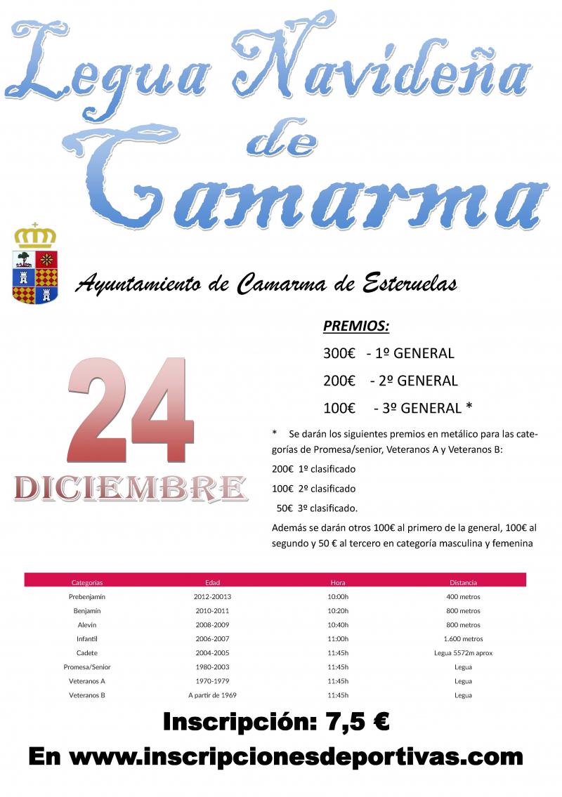 Cartel del evento XIV LEGUA NAVIDEÑA DE CAMARMA